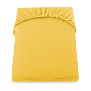 Cearșaf de pat cu elastic DecoKing Nephrite, 220–220 cm, galben