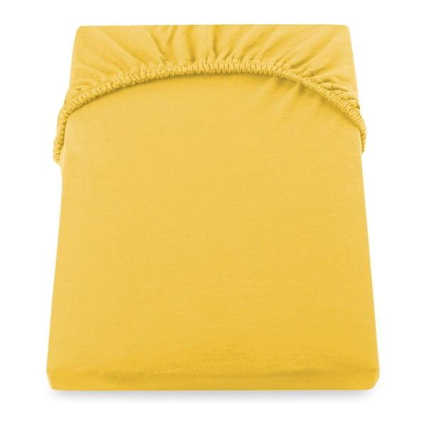 Żółte prześcieradło elastyczne DecoKing Nephrite, 140–160cm