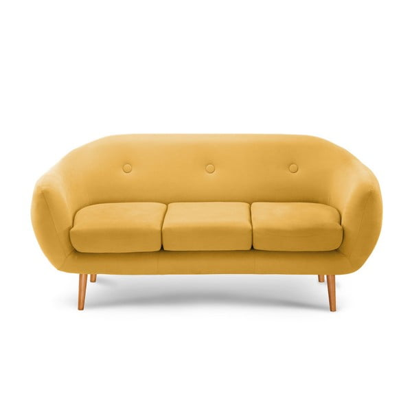 Tmavě žlutá trojmístná sedačka Scandi by Stella Cadente Maison