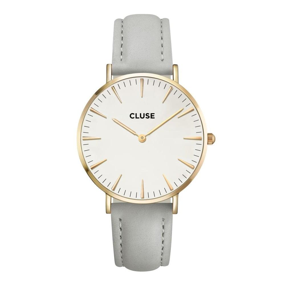 Dámské hodinky s šedým koženým řemínkem a detaily ve zlaté barvě Cluse La  Bohéme 64013d4c1a