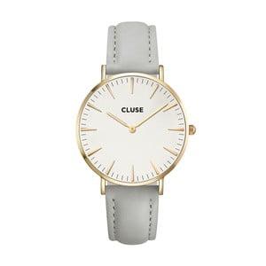 Dámské hodinky s šedým koženým řemínkem a detaily ve zlaté barvě Cluse La Bohéme