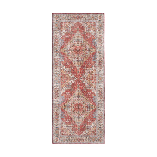 Cihlově červený koberec Nouristan Sylla, 80 x 200 cm