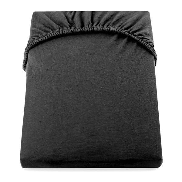 Cearșaf de pat cu elastic DecoKing Nephrite, 180–200 cm, negru