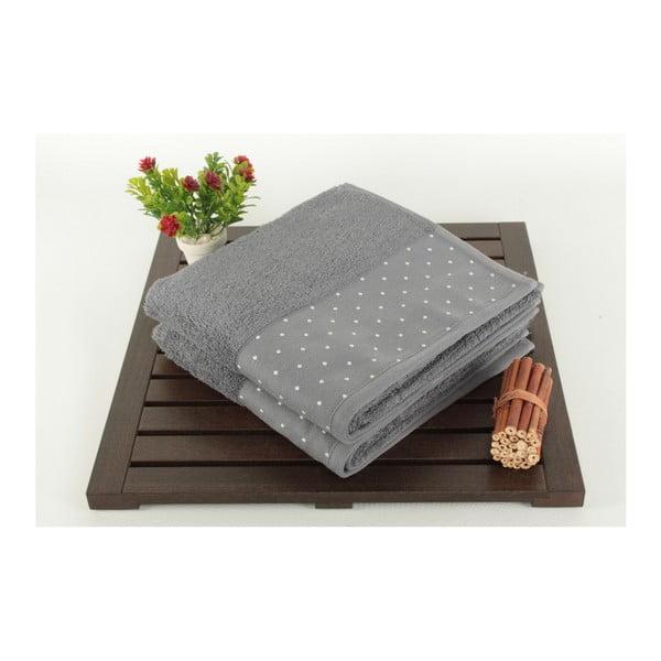 Sada 2 sivých bavlnených uterákov Patricia, 50 × 90 cm