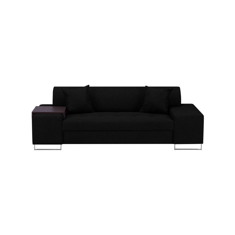Černá trojmístná pohovka s nohami ve stříbrné barvě Cosmopolitan Orlando