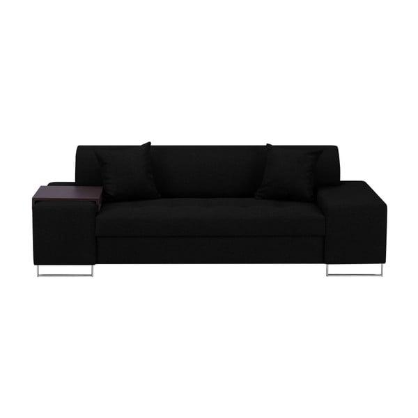 Černá trojmístná pohovka s nohami ve stříbrné barvě Cosmopolitan Design Orlando