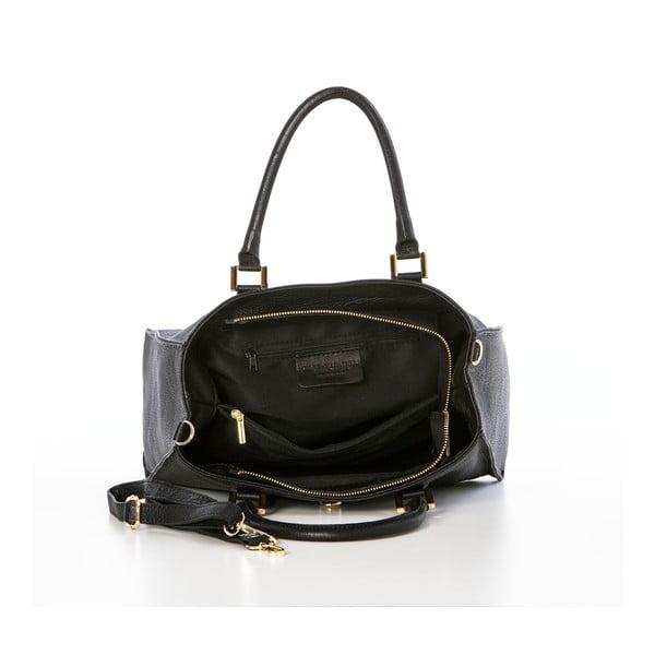 Černá kožená kabelka Federica Bassi Dol