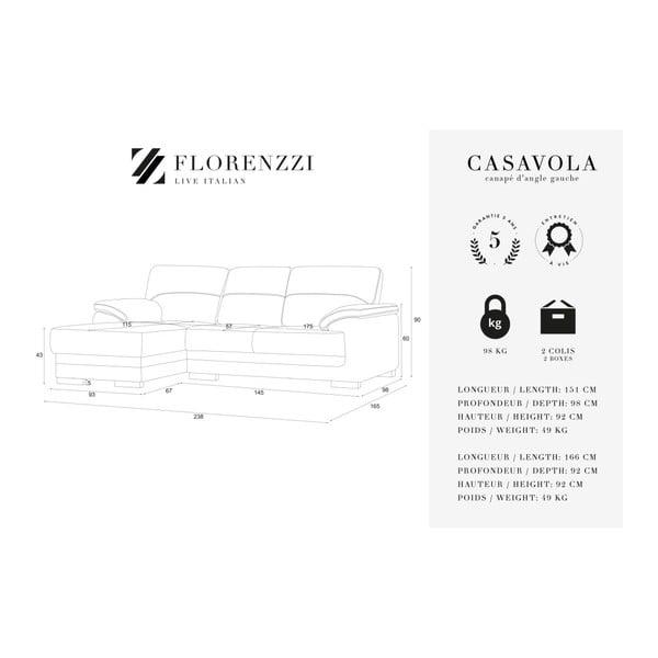 Antracitově šedá rohová pohovka s lenoškou Florenzzi Casavola, levýroh