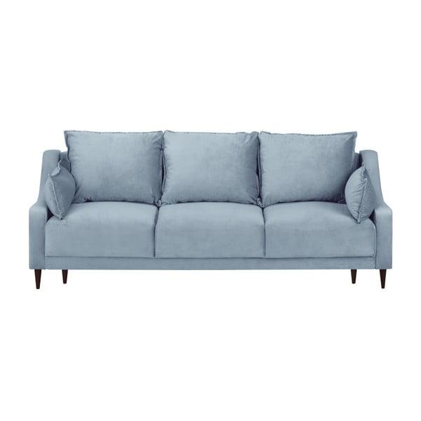 Světle modrá třímístná rozkládací pohovka s úložným prostorem Mazzini Sofas Freesia