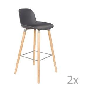 Set 2 scaune bar Zuiver Albert Kuip, înălțime scaun 75cm, gri închis