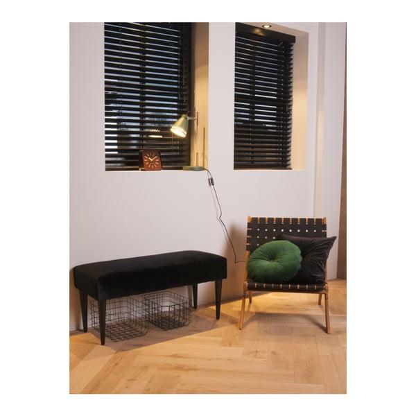 Černá židle z akáciového dřeva s nylonovým potahem Leitmotiv Weave