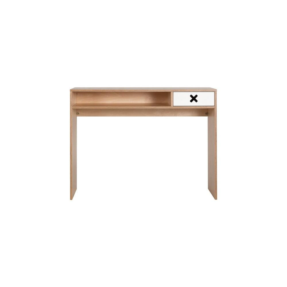 Bílý pracovní stůl s jednou zásuvkou Durbas Style