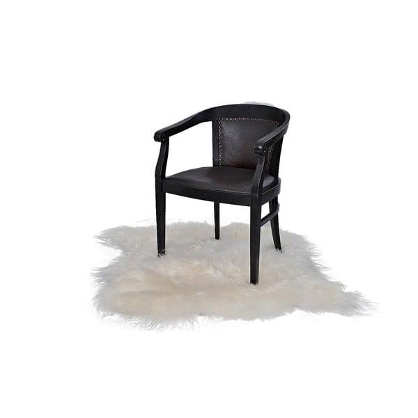 Bílý kožešinový koberec s dlouhým chlupem, 90x80cm