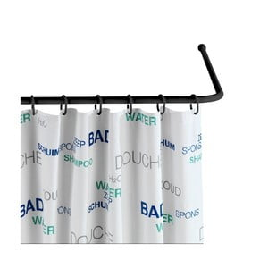Černá univerzální rohová tyč na sprchový závěs Wenko Black, ø 2 cm