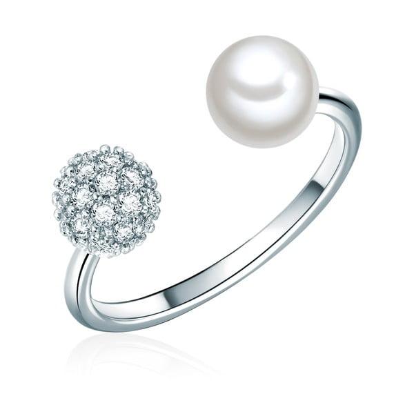 Prsten ve stříbrné barvě s bílou perlou Perldesse Perle, vel. 58
