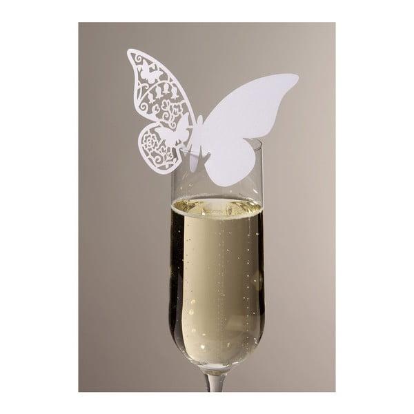 Sada 10 jmenovek/rozlišovačů na skleničky Butterflies, ivory