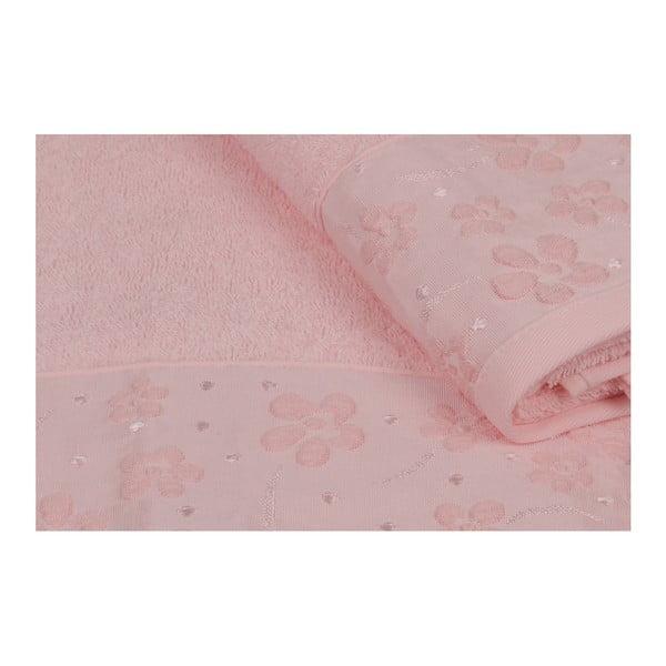 Sada 2 růžových ručníků z čisté bavlny Alexandra, 90 x 150 cm