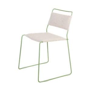Bílá židle se zelenou konstrukcí OK Design One Wire