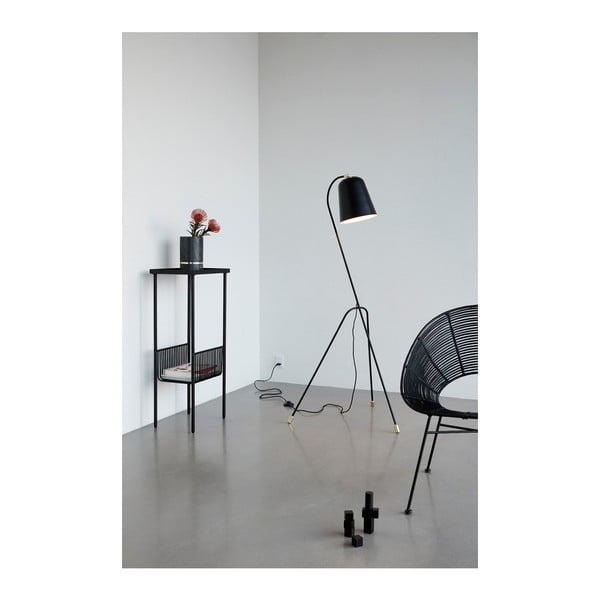 Černý konzolový stolek s přihrádkou na časopisy Hübsch Birthe, délka43cm