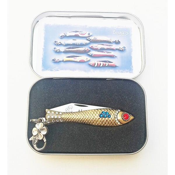 Český nožík rybička na hřiby, zlatá s krystaly