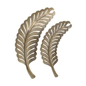 Sada 2 dekorativních kovových podnosů InArt Golden Leaf