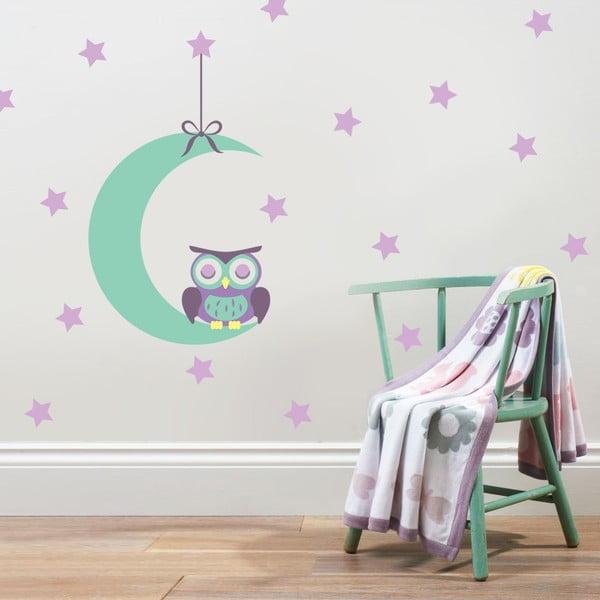 Samolepka Sova na měsíčku, 70x50 cm