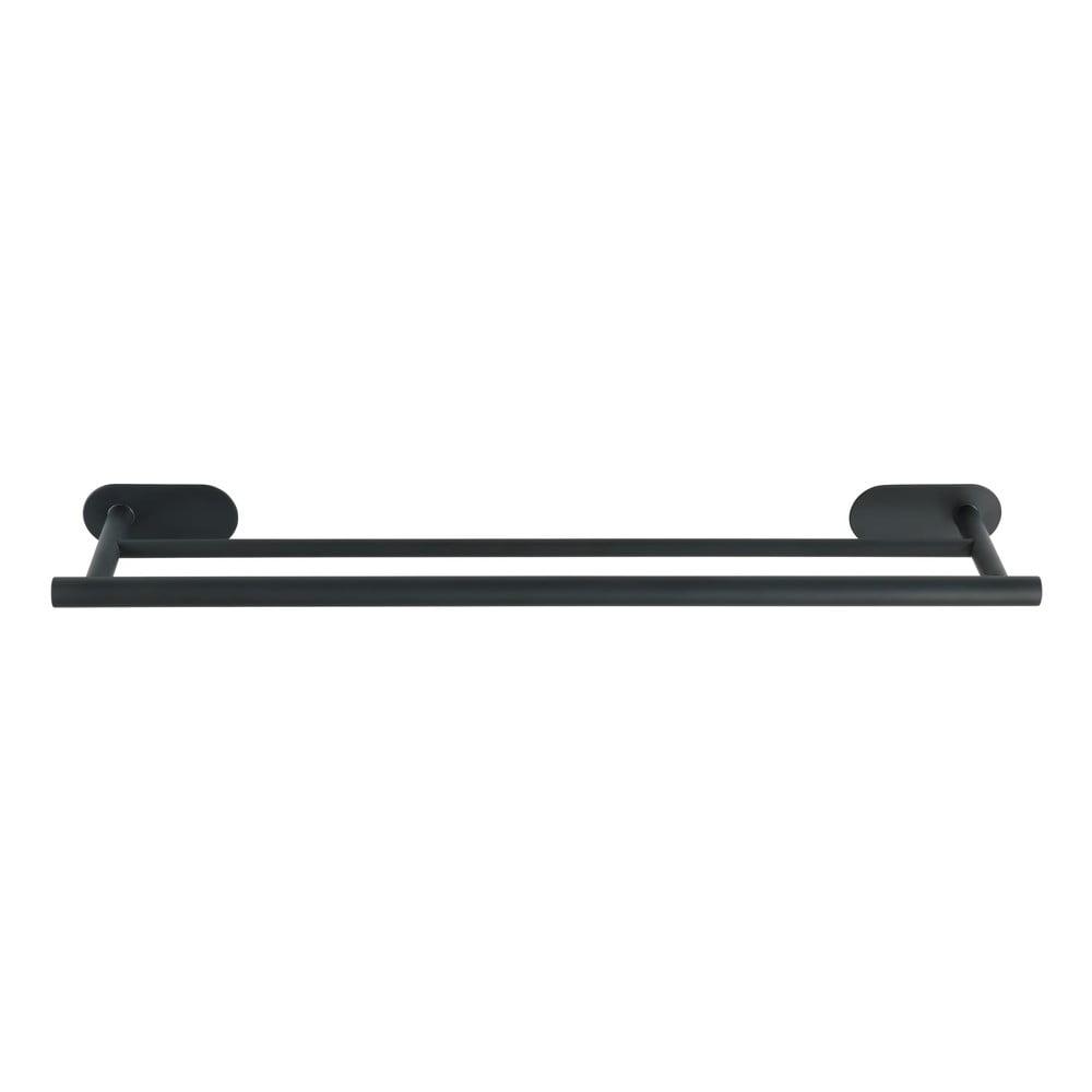 Matně černý dvojitý nástěnný držák na ručníky z nerezové oceli Wenko Orea Rail Duo Turbo-Loc®