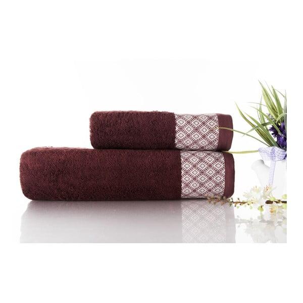 Sada 2ks ručníků Bamboo Polo Burgundy, 50x90 cm a 70x140 cm