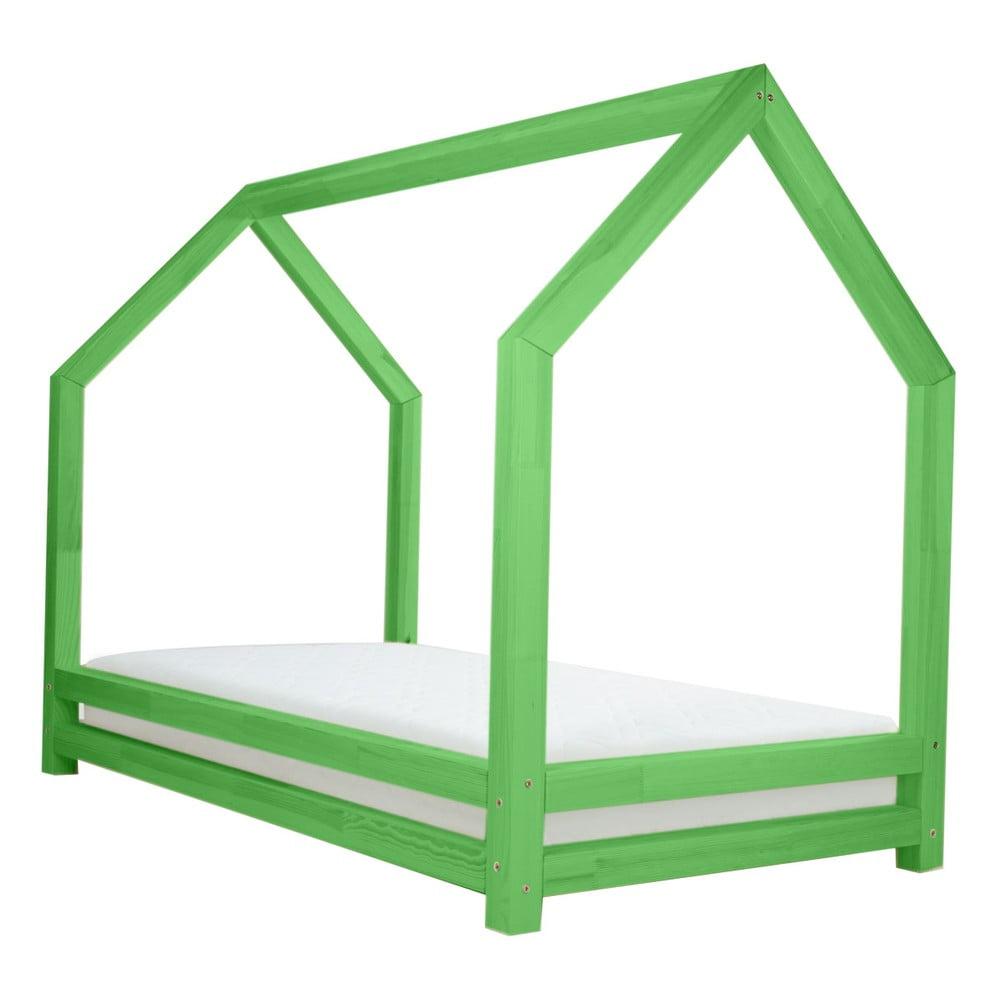 Zelená jednolůžková postel z borovicového dřeva Benlemi Funny, 80 x 200 cm