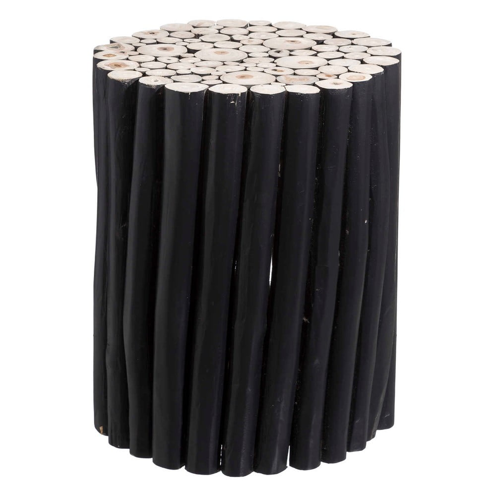 Černý odkládací stolek z týkového dřeva Tropicho