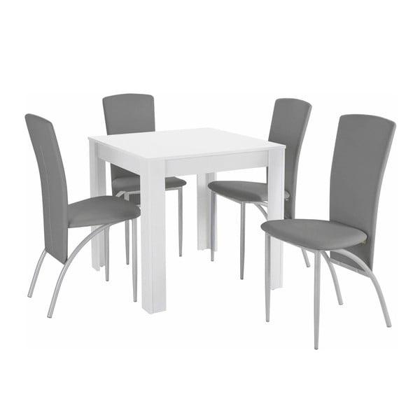 Set jídelního stolu a 4 šedých jídelních židlí Støraa Lori Nevada Duro White Light Grey