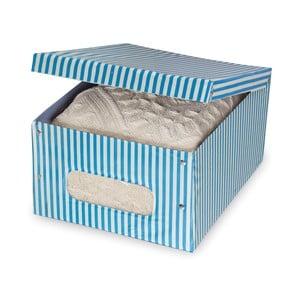 Modrý úložný box Domopak Stripe, délka 50cm