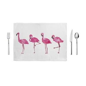 Růžovobílé prostírání Home de Bleu Painted Flamingos, 35x49cm