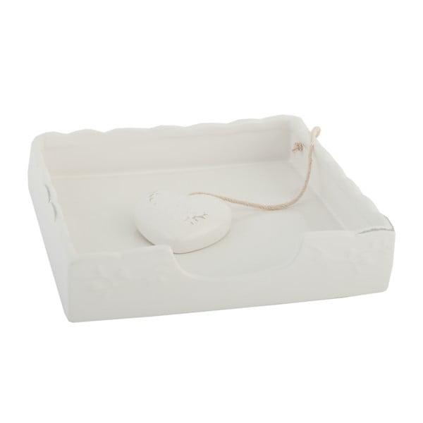Bílý box na ubrousky Clayre & Eef, 18x4 cm