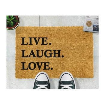 Covoraș intrare din fibre de cocos Artsy Doormats Live Laugh Love, 40 x 60 cm de la Artsy Doormats