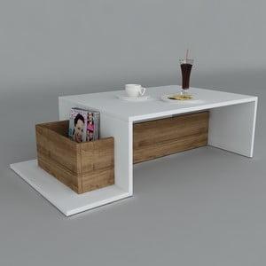 Konferenční stolek Pot White/Walnut, 60x106,8x32 cm