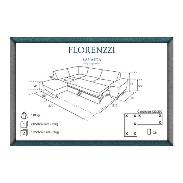 Tmavě modrá rozkládací pohovka Florenzzi Savasta s lenoškou na levé straně