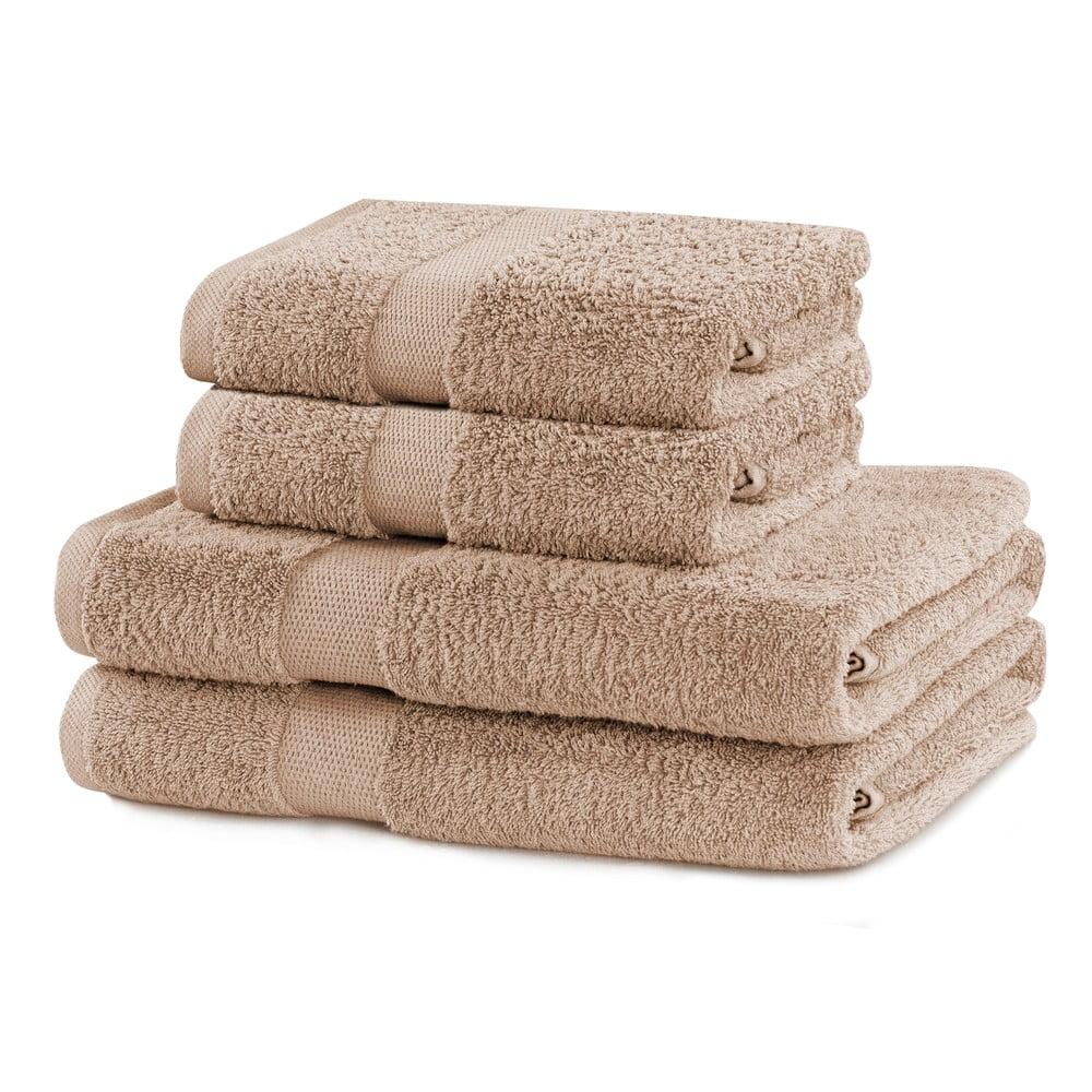 Set 2 béžových ručníků a 2 osušek DecoKing Marina Beige