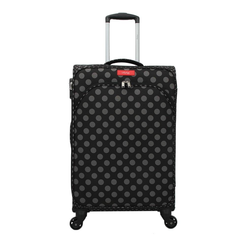 Černé zavazadlo na 4 kolečkách Lollipops Jenny, výška 67cm