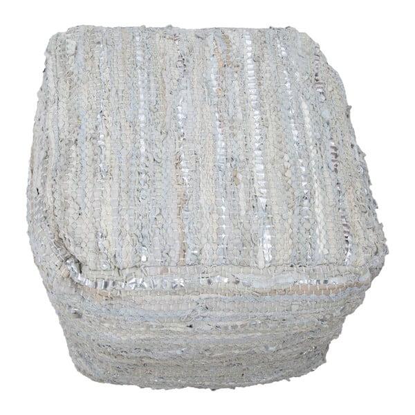 Kožený puf s bavlněnými detaily Mauro Ferretti Delhi Quadrato