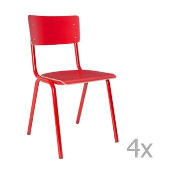 Set 4 scaune Zuiver Back to School, roșu