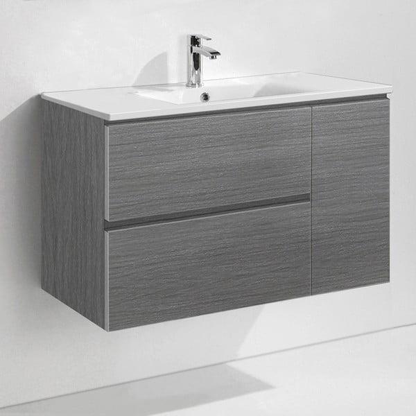 Koupelnová skříňka s umyvadlem a zrcadlem Happy, odstín šedé, 80 cm
