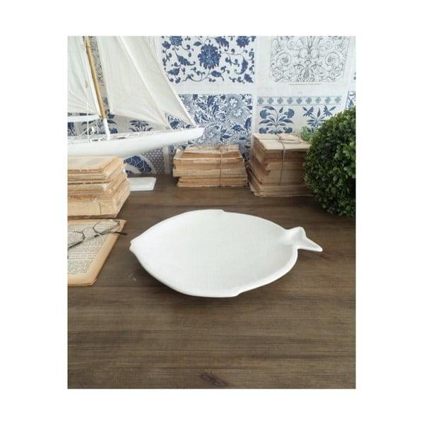 Sada 6 bílých keramických talířů Orchidea Milano Big Fish