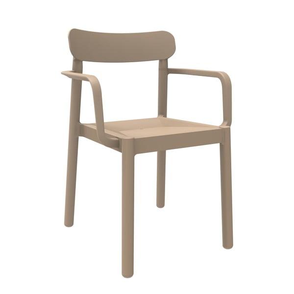 Set 4 scaune de grădină cu cotierei Resol Elba, maro nisipiu