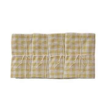 Set 4 șervețele textile Linen Couture Beige Vichy, 43 x 43 cm imagine