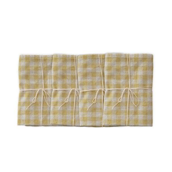 Sada 4 látkových obrúskov s prímesou ľanu Linen Couture Beige Vichy, 43 x 43 cm