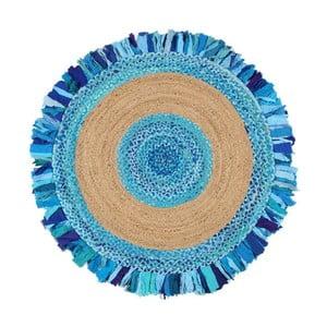 Kruhový koberec zjuty abavlny Eco Rugs Aqua, Ø120cm