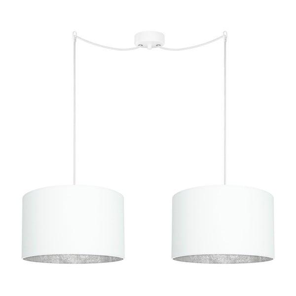 Mika Elementary fehér 2 ágú függőlámpa, ezüstszínű részletekkel - Sotto Luce