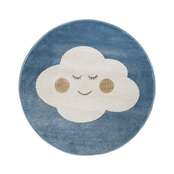 Covor rotund KICOTI Cloud, ø 80 cm, albastru-alb de la KICOTI