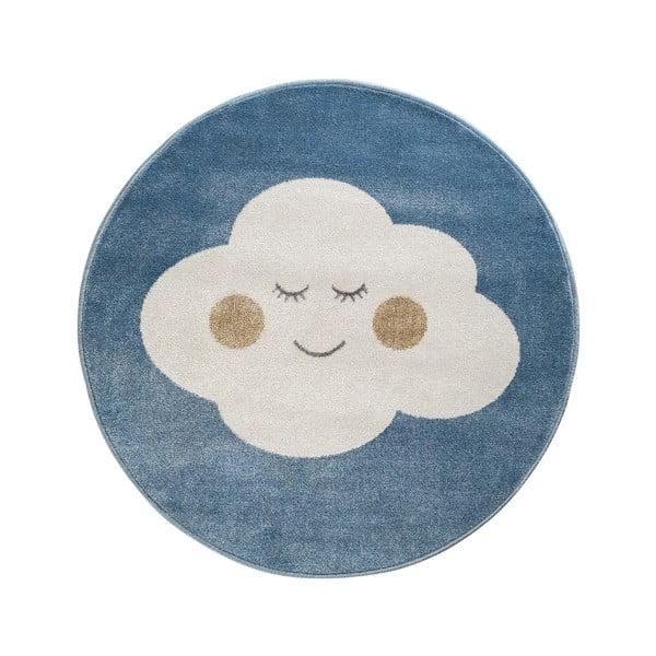 Azure kék, kerek szőnyeg felhő mintával, ø 80 cm - KICOTI